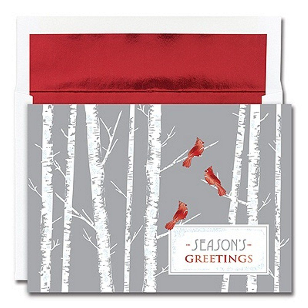 Cardinals Holiday Cards With Red Foil Lined Envelopes Sophies