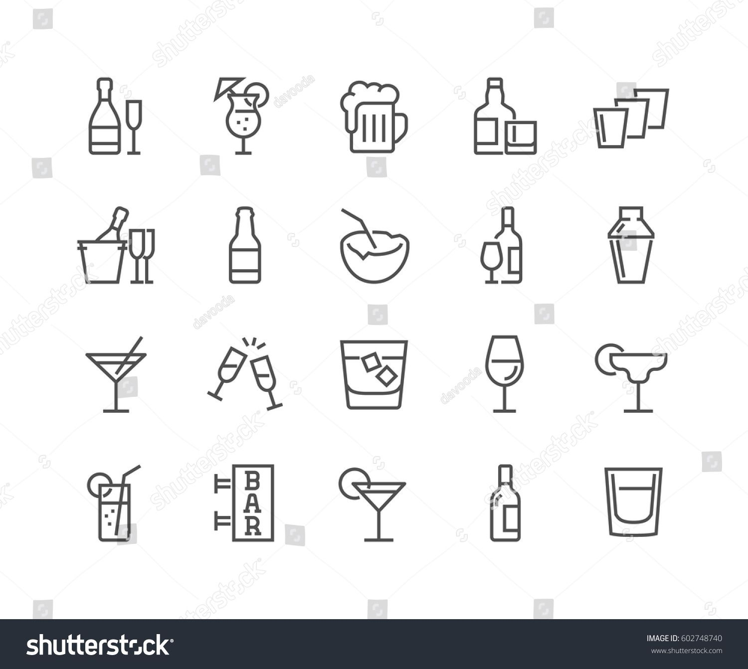Simple Set Alcohol Related Vector Line Stock Vector (Royalty Free) 602748740