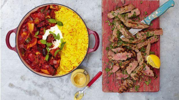 Leichte Sommerküche Jamie Oliver : Jamie oliver gegrilltes steak mit ratatouille und safranreis