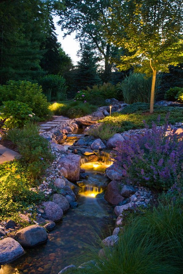 Contemporary Mini Waterfall Garden Patio With Lighting Style