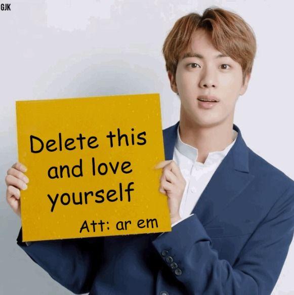 Bts Meme Jin Alv Love Yourself Dijo El Ar Em Kpop Memes Bts Funny Meme Faces