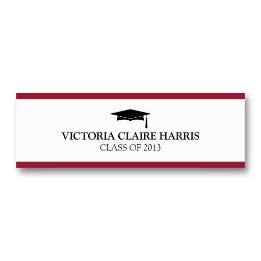 Red stripe border graduation cap name card pinterest card red stripe border graduation cap name card business card templates wajeb Choice Image