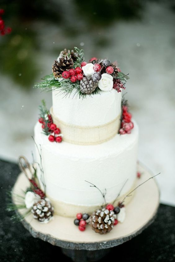Pinecones And Cranberries Decorate Your Wedding Cake Like You Would A Christmas Tree The