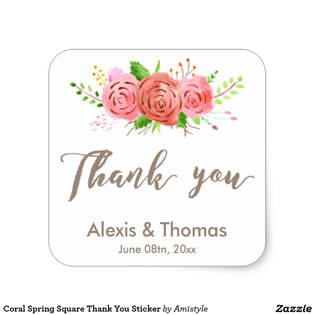 coral spring square thank you sticker | { wedding invitations