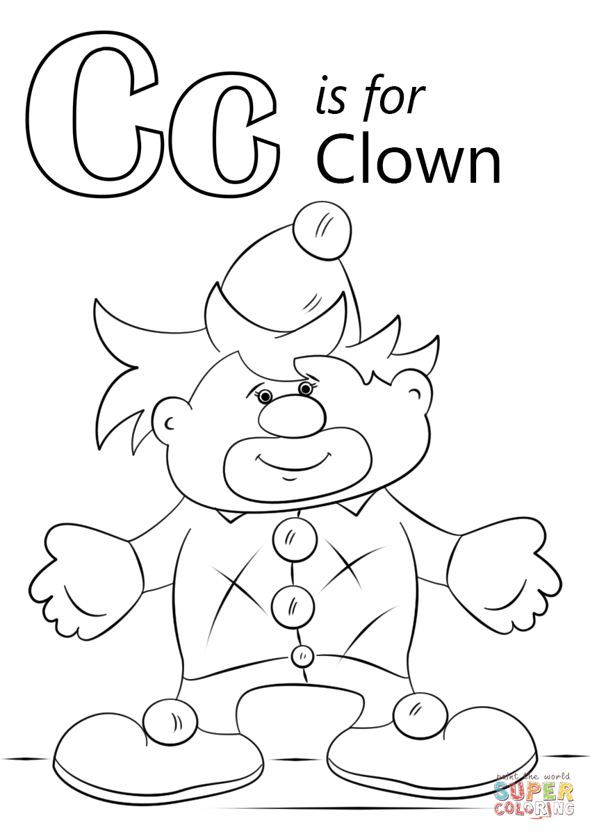 Letter C Is For Clown Coloring Page