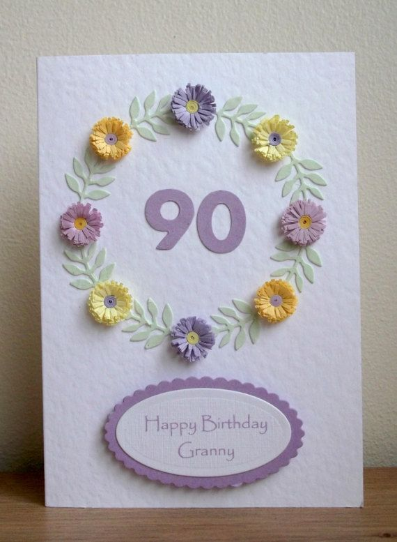 Handmade 90th card granny birthday personalised by PaperDaisyCards