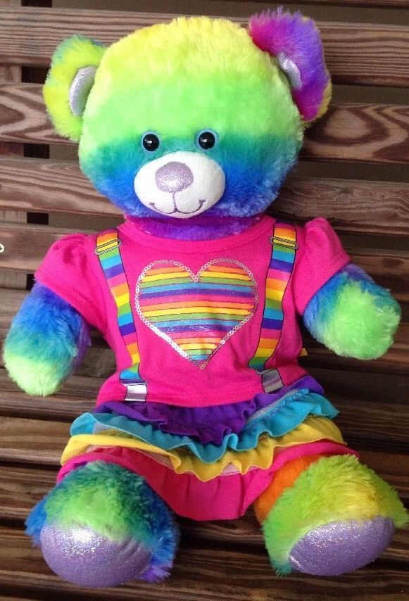 bea14ad8bf3 Build a Bear Workshop Rainbow Glitter Teddy Heart Suspenders Ruffled Skirt 17  in  BuildABearWorkshop