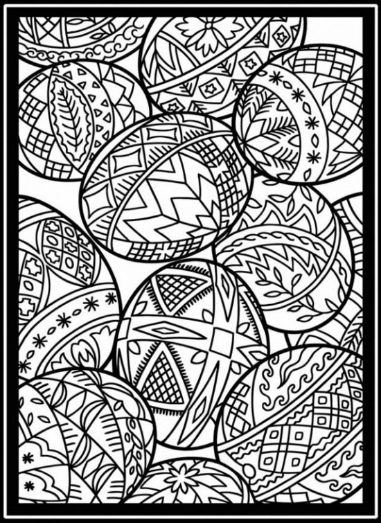Abstract Cross Coloring Pages : Easter eggs in stained glass coloring page online