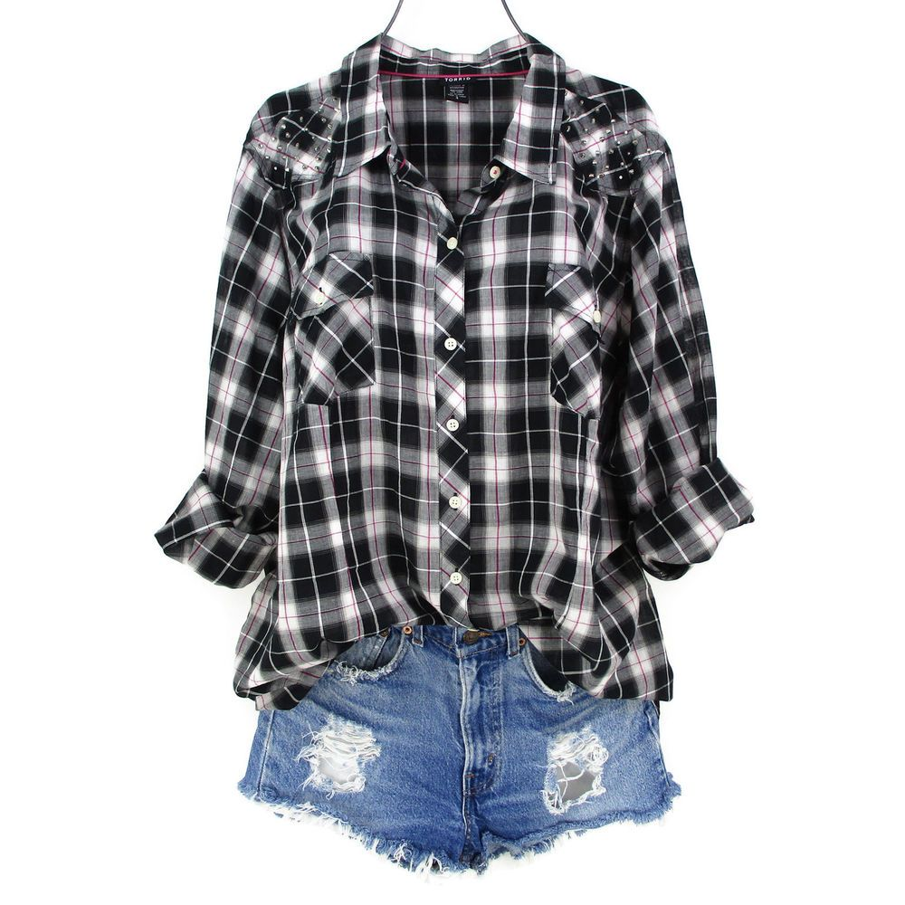 Plus size womens flannel shirt  Torrid  X Top Plus Size Womens Black Plaid Shirt Studded Button Up