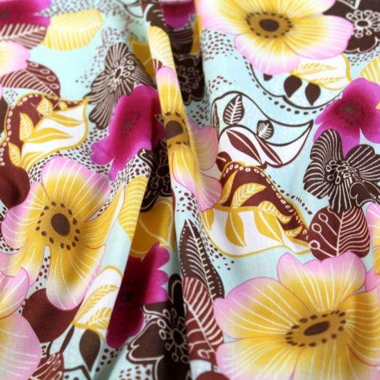 Flora Dora Lightweight Cotton Voile - Pinks/Browns on Aqua - Gorgeous FabricsGorgeous Fabrics