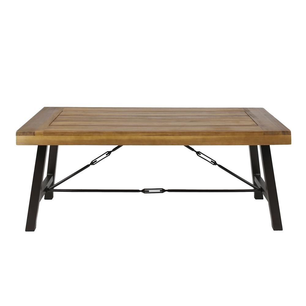 Noble House Catriona Rustic Metal Frame Rectangular Teak Brown Wood Outdoor Coffee Table 41810 Outdoor Coffee Tables Coffee Table Wood Coffee Table