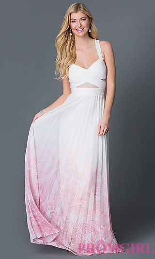 a5c9fdfd09f Betsy and Adam V-neck Prom Dress with Ombre Skirt at PromGirl.com