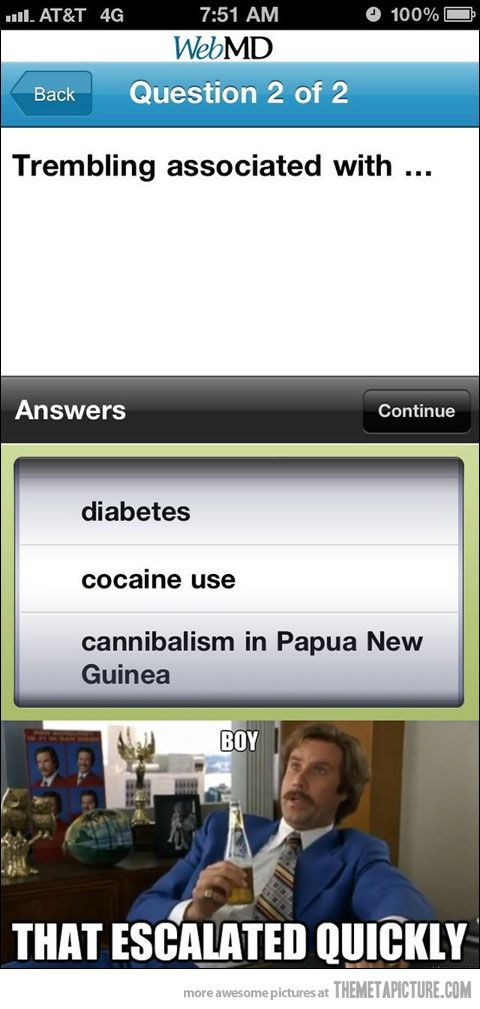 WebMD doesn't mess around...