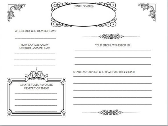 Diy Wedding Guestbook Templates  My Guestbook Pages  Dyi Printable