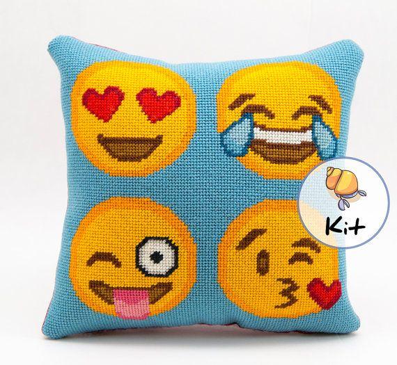Modern Needlepoint Pillow Kits : Emoji Needlepoint Kit or Printed Canvas. Modern Needlepoint Kits. Diy Kit. 10