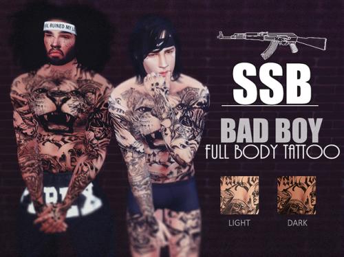 b9a346634 SSB Bad Boy Full Body Tattoo   2 Tones   by SavageSimBaby via Tumblr   Sims  4   TS4 I Maxis Match   MM   CC