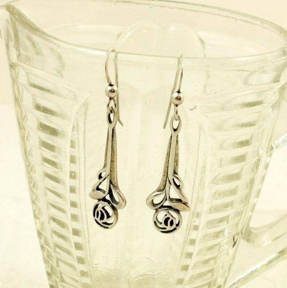 Vintage Kit Heath Earrings Mackintosh Style Rose Dangle Earrings Mackintosh Rose Jewelry Design Vintage Jewelry