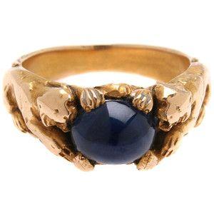 Art Nouveau Saphire & 14kt Gold Tiger Ring