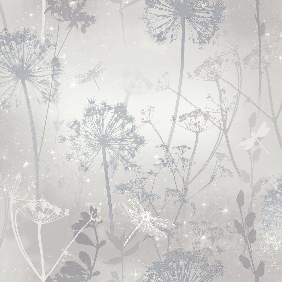 Damselfly Silver Wallpaper In 2020 Blush Wallpaper Si