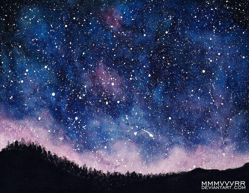 Night Sky By Mmmvvvrr Watercolor Night Sky Night Sky Art Night Sky Painting Night starry sky nebula stars landscape