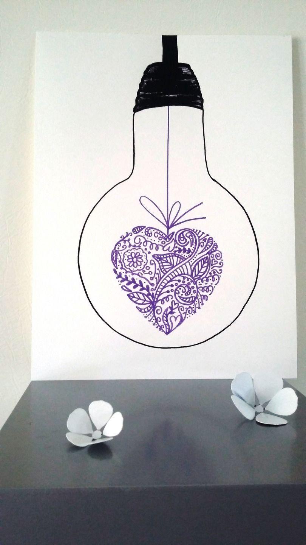 affiche illustration ampoule mon coeur est toi. Black Bedroom Furniture Sets. Home Design Ideas
