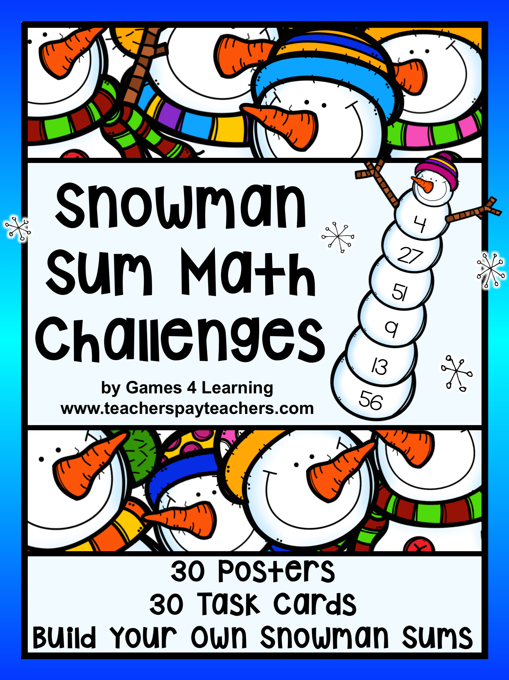 Winter Math Activity Build A Snowman Addition Challenge