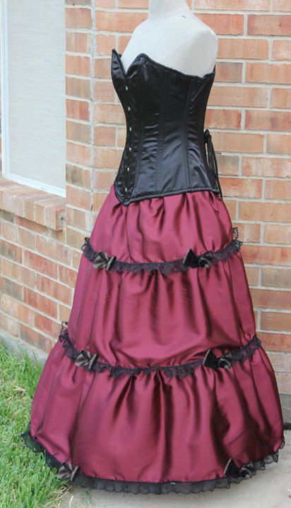 La Petite Bow Victorian Long Skirt with by TracyMichelleCouture (in black with black lace $148.99)