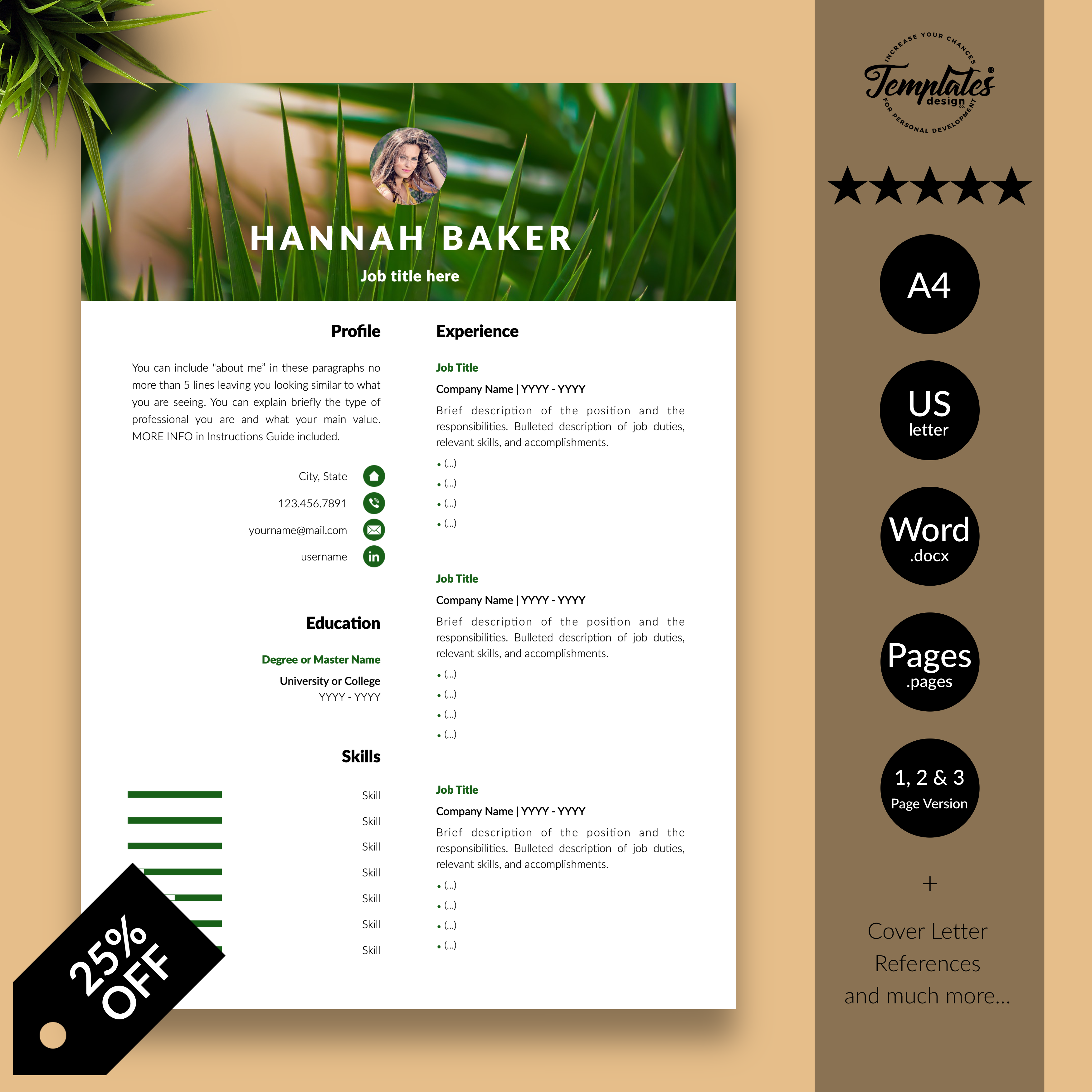 Creative & Modern Resume CV Template editable with Ms Word