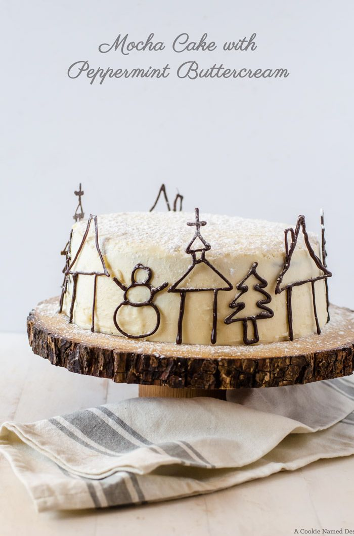 Chocolate Cake with Coffee Buttercream Filling and Peppermint Italian Meringue Buttercream - Recipes Blogs