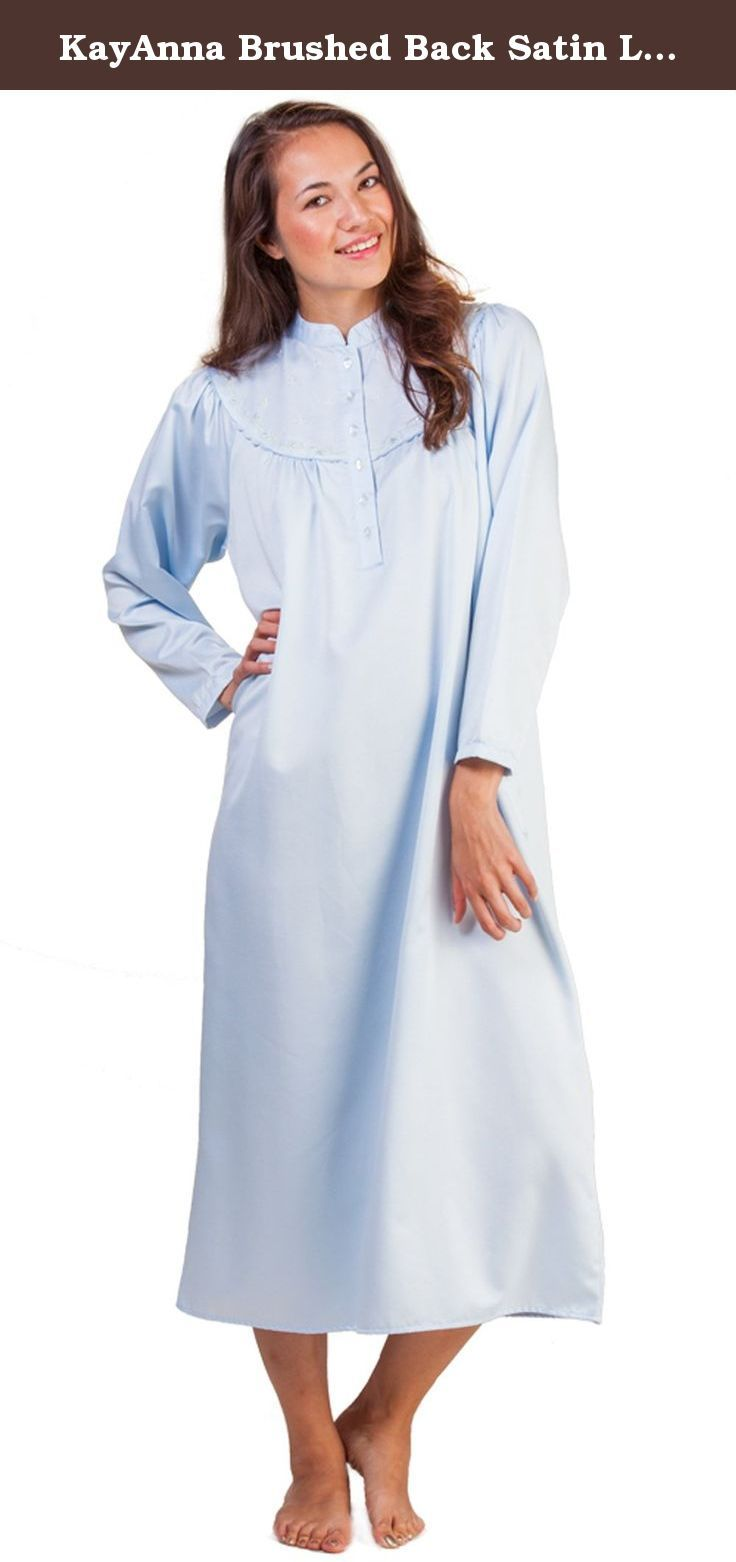 3301d9d1f2 KayAnna Brushed Back Satin Long Mandarin Collar Nightgown in Blue (Large  (14-16