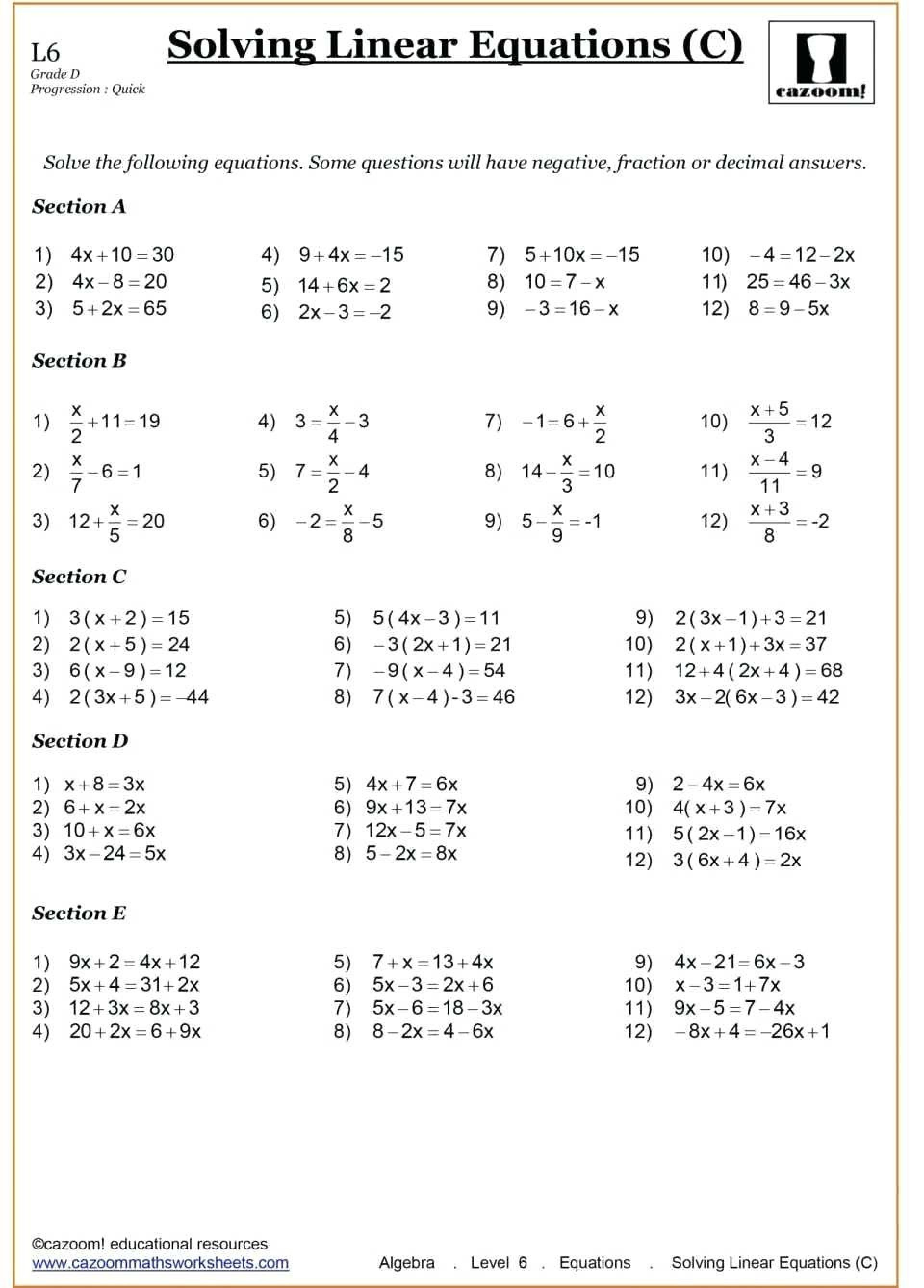 9th Grade Algebra Worksheets In
