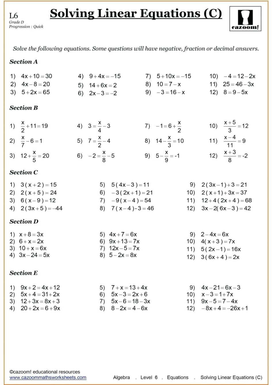 9th Grade Algebra Worksheets Algebra Worksheets Solving Linear Equations Year 9 Maths Worksheets