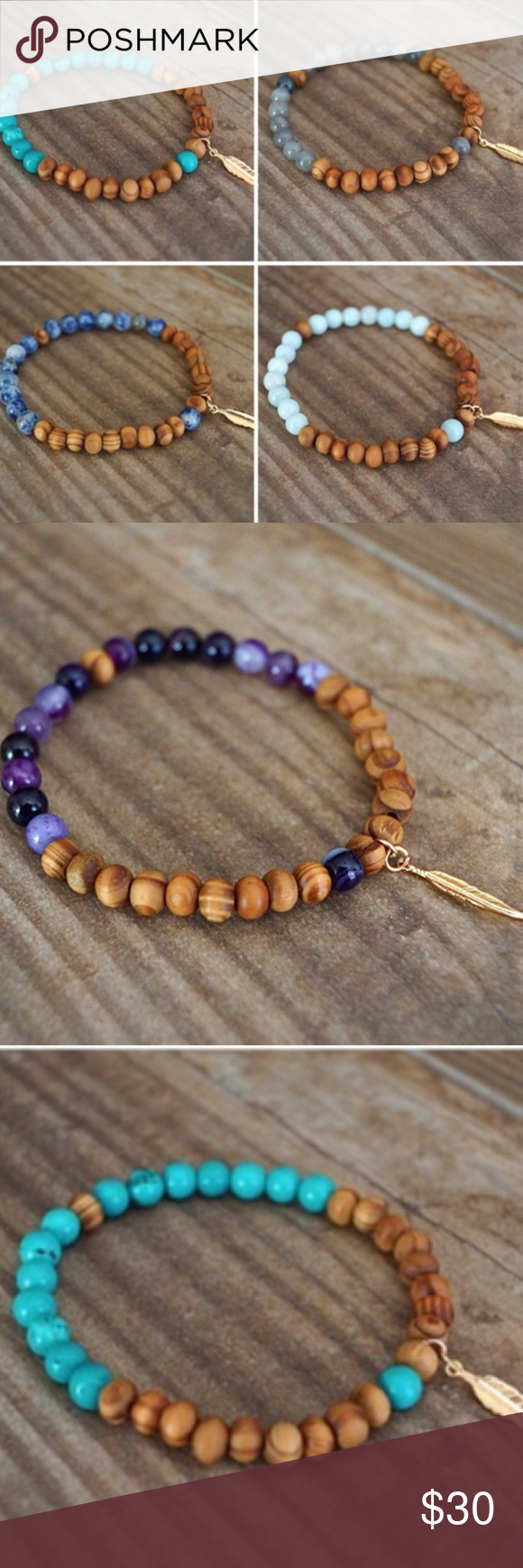 Hand carved round gemstone wood beaded bracelets boutique