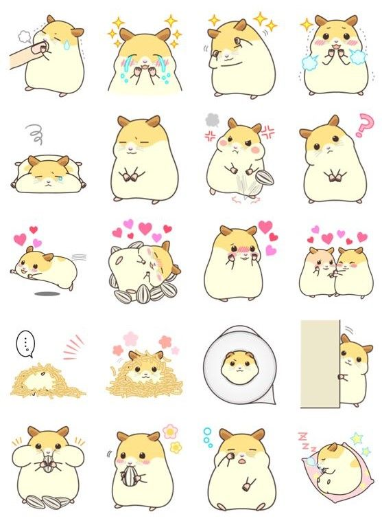 Cute Baby Hamsters Wallpaper My Lovely Hamster Kawaii Stickers ♡ Astel Kawaii♡ ૂི