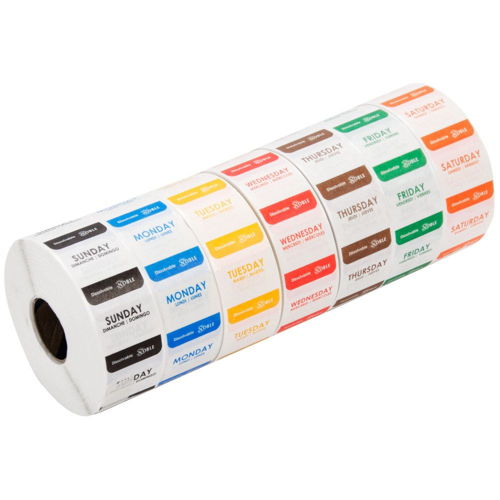 """Noble Products 1"""" Dissolvable Day Of The Week Label Rolls"""