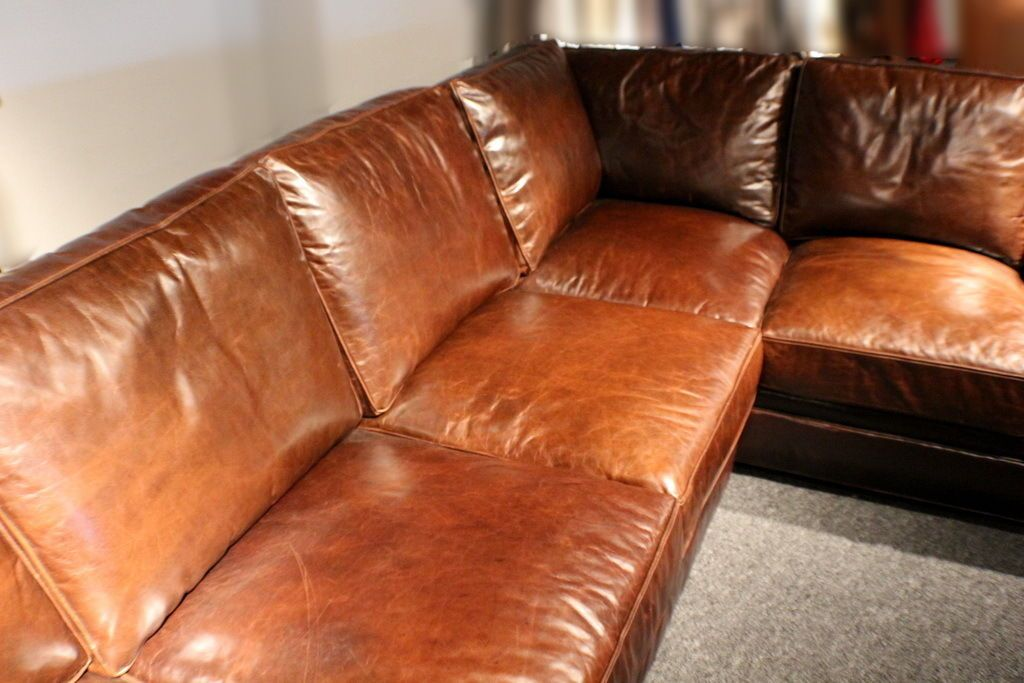 Best Saddle Brown Leather Sofa 122quot L Sectional Soft Italian Wood Frame