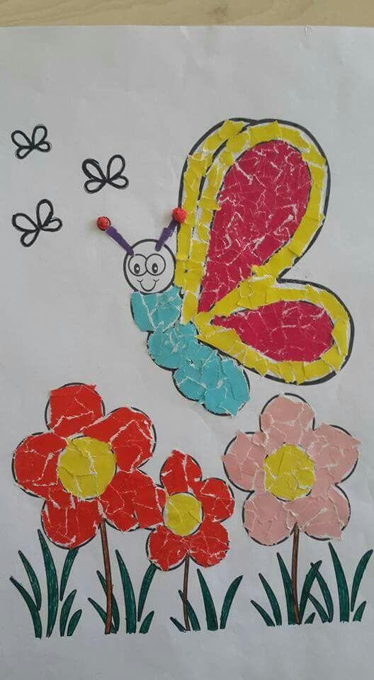 Ilkbahar Yırtma Yapıştırma Okul öncesi Sanat Preschool Art