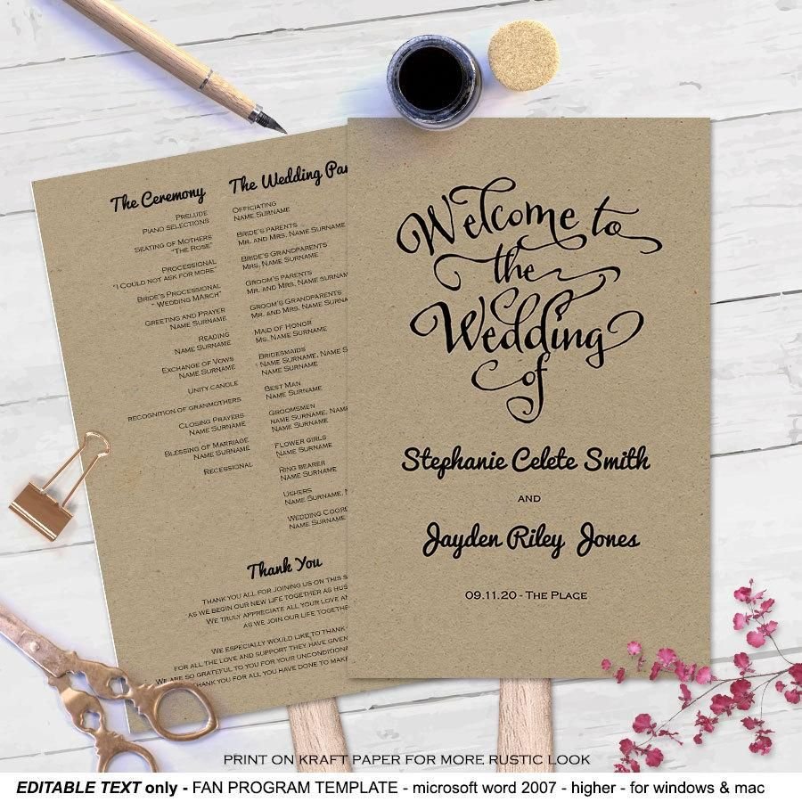 Modern Rustic Diy Wedding Program Fan Template Wedding Wedding