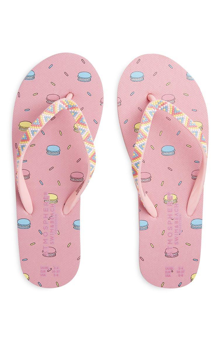 e460be79b989 Primark - Chinelos de dedo estampados cor-de-rosa Crocs Flip Flops