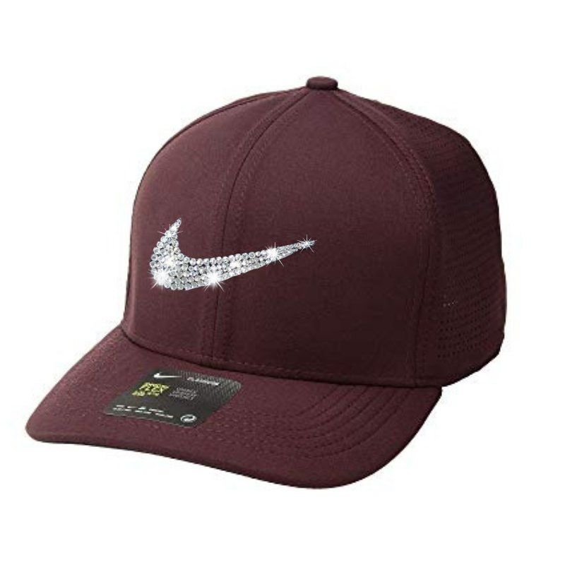 bea098c54a7 CUSTOM Nike Hat Swarovski Crystals BURGUNDY with Front and Back