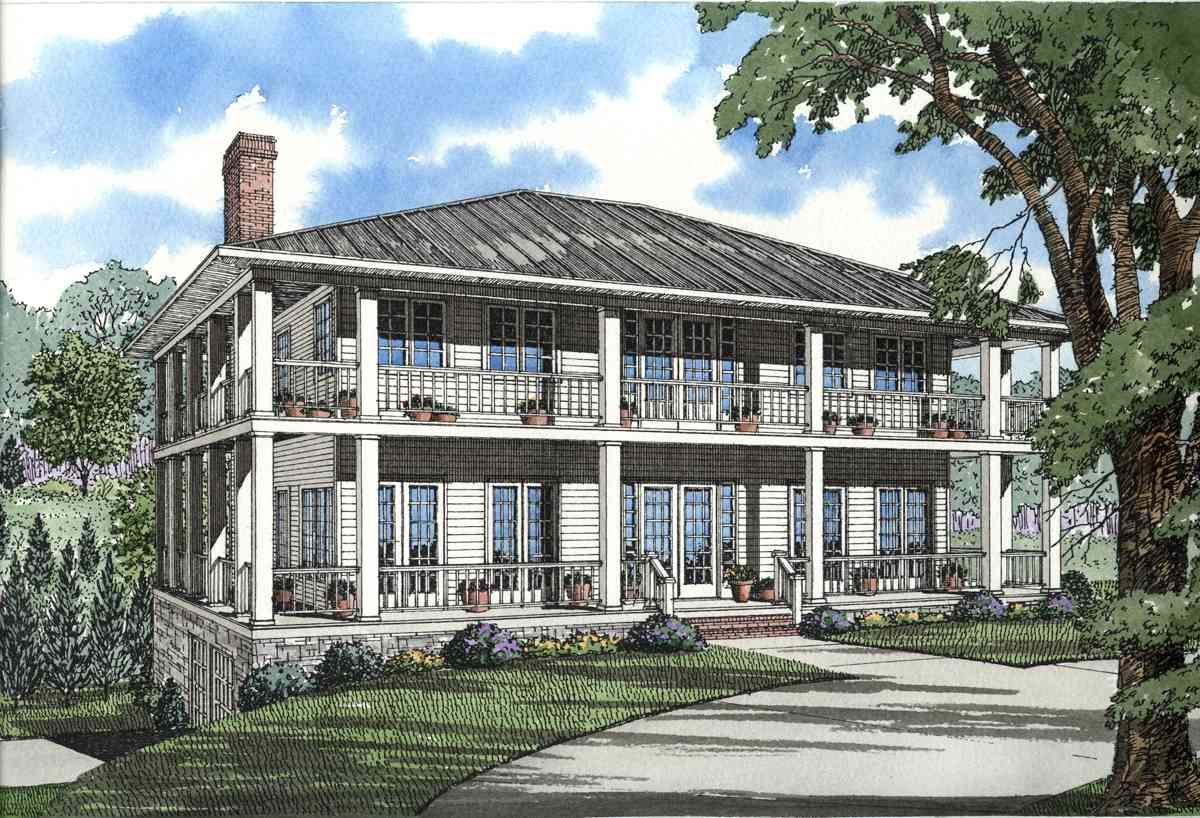 Distinctly southern in style this plantation home plan has a magnificent porch that wraps around all four sides accessed by double doors on each floor