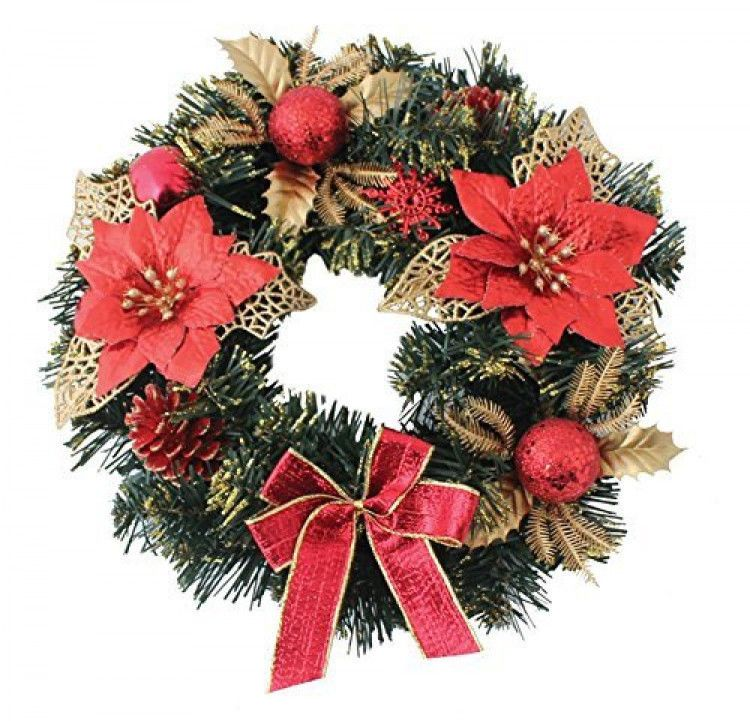 Christmas Decorative Wreath Poinsettia 30cm Red Red