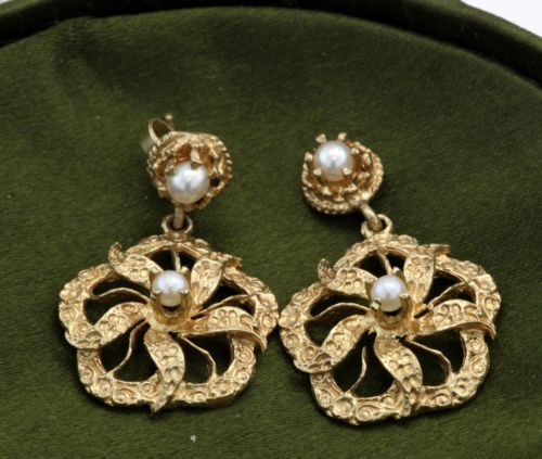 Antique C. 1860 Victorian 14k Gold Carved Akoya Pearl Womens Flower Earrings! in Jewelry & Watches, Vintage & Antique Jewelry, Fine, Victorian, Edwardian 1837-1910, Earrings | eBay