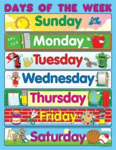 image about Printable Days of the Week identified as Carson Dellosa Times of the 7 days Chart Printable Prettiness