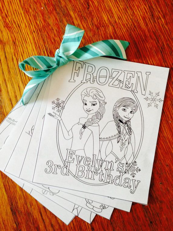 Personalized Frozen Coloring Book Party Favor By EllaJaneCrafts, $4.00  Frozen Party Favors Diy, Frozen Birthday Party, Frozen Birthday Party Favors