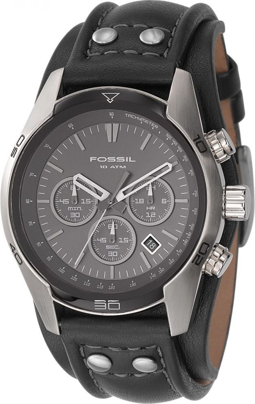 07ea1c751837f Fossil Men s CH2586 Sports Chronograph Leather Cuff Black Dial Watch     94.95   Fossil Watch Men