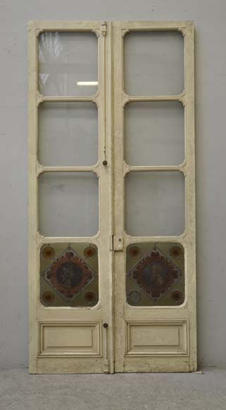 Double Gl Door Decorated With Stained Panels Profiles Of Man And Woman In A Medallion This Was Made During The 19th Century