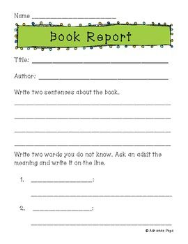primary book report