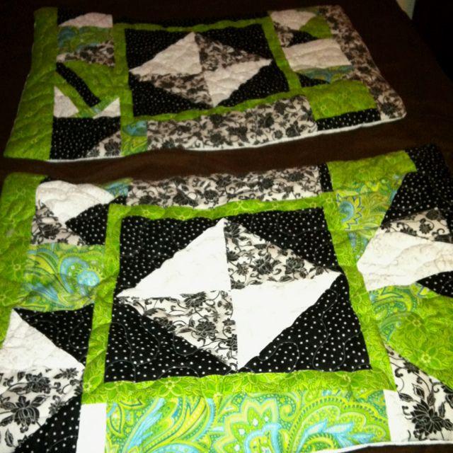 Green, black and white pillow shams