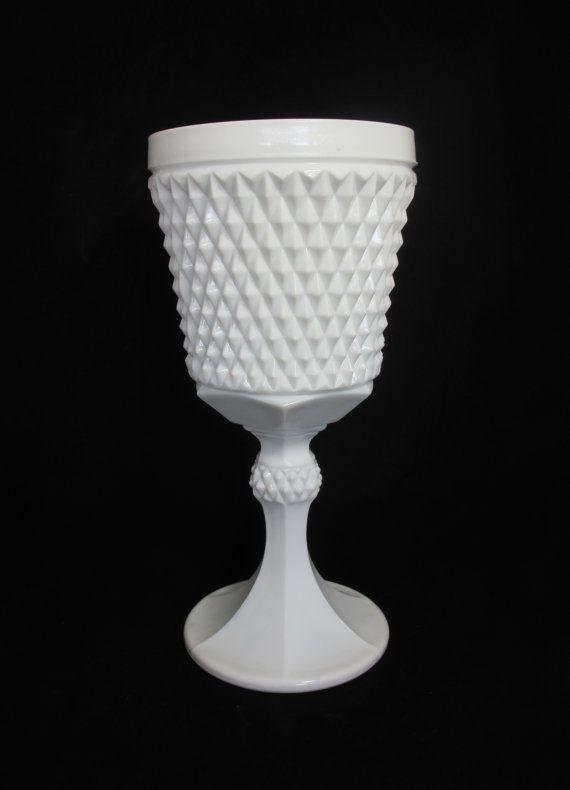 Large Vintage Diamond Cut Milk Glass Goblet - perfect in a centerpiece $18.00